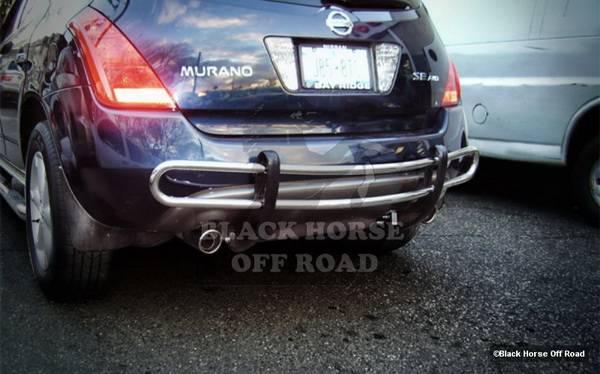 nissan murano black horse rear bumper guard - double tube