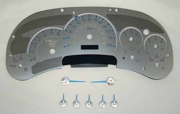US Speedo Stainless Steel Gauge Face with Blue Back and Color Match