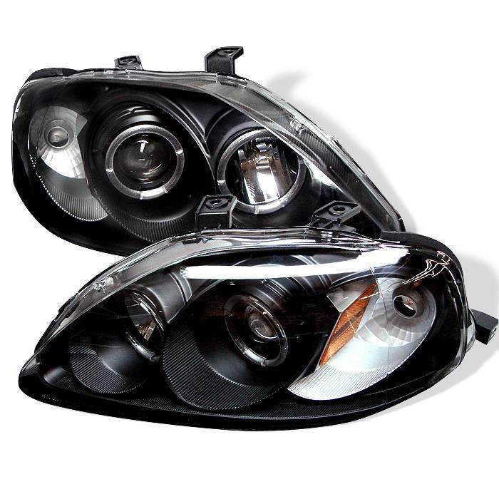 honda civic spyder projector headlights led halo black. Black Bedroom Furniture Sets. Home Design Ideas