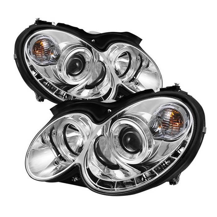 Mercedes benz clk spyder projector headlights led halo for Mercedes benz aftermarket headlights