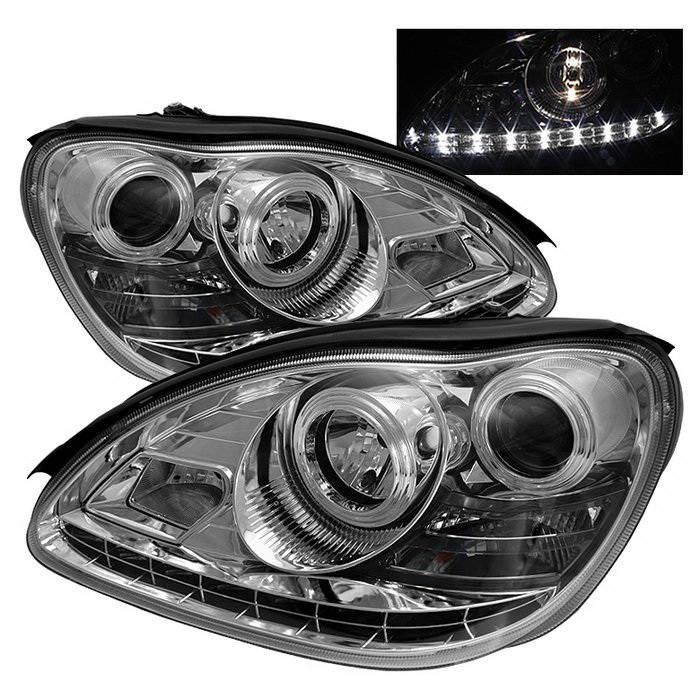 Mercedes benz s class spyder daytime running led projector for Mercedes benz aftermarket headlights