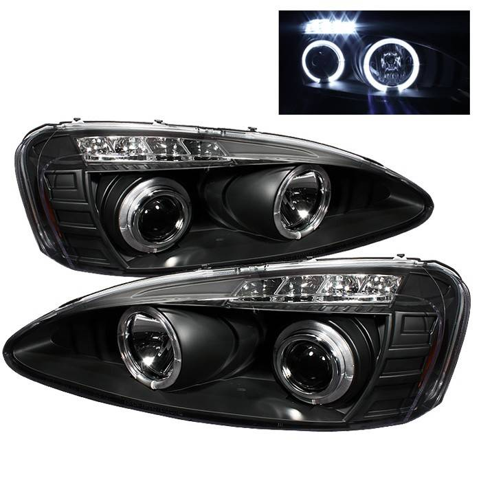 pontiac grand prix spyder projector headlights led halo led black 444 pgp04 hl bk. Black Bedroom Furniture Sets. Home Design Ideas
