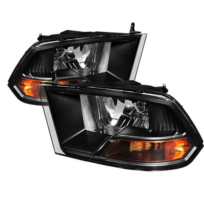 dodge ram spyder crystal headlights black hd jh dr09 am bk. Black Bedroom Furniture Sets. Home Design Ideas