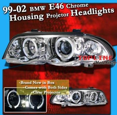 Custom - HALO PROJECTOR HEADLIGHTS - Chrome - White Halo