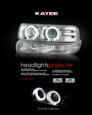 Custom - Chrome Dual Halo Angel Eyes Headlights