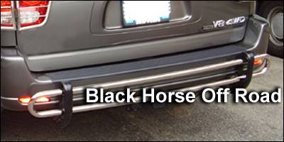 Black Horse - Toyota Sequoia Black Horse Rear Bumper Guard - Double Tube