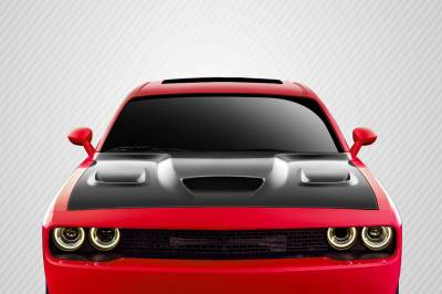 Extreme Dimensions 16 - Dodge Challenger Carbon Creations Hellcat Look Hood - 1 Piece - 112475