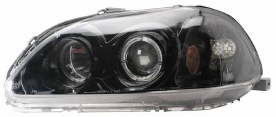 Anzo - Honda Civic Anzo Projector Headlights - with Halo Black - 121068