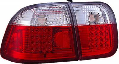 APC - Honda Civic 4DR APC LED Taillights with Red & Clear Lens - 406271TLR