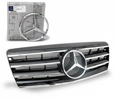 4CarOption - Mercedes S Class 4CarOption Front Hood Grille - GRA-W1409298WCL4-BK