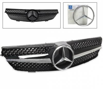 4CarOption - Mercedes CLK 4CarOption Front Hood Grille - GRA-W2090308WSLN-BK