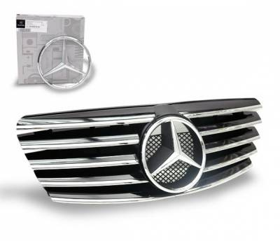4CarOption - Mercedes E Class 4CarOption Front Hood Grille - GRA-W2100002WCL-BK