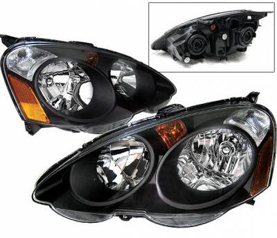 4 Car Option - Acura RSX 4 Car Option JDM Headlights - Black - LH-AR02JDM-DP