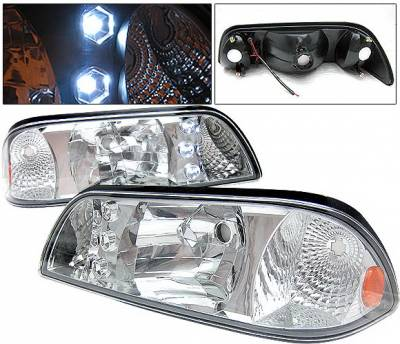 4 Car Option - Ford Mustang 4 Car Option LED Headlights - Chrome - 1PC - LH-FM87C-1-A