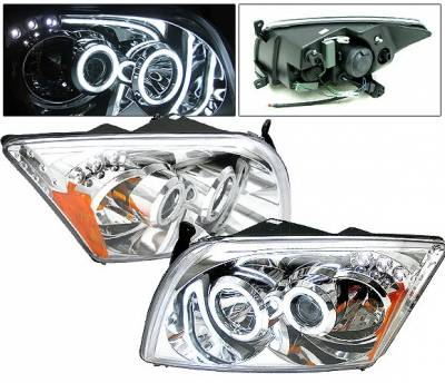 4 Car Option - Dodge Caliber 4 Car Option CCFL Halo LED Projector Headlights - Chrome - LP-DCAB06CF-KS