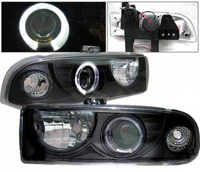 4 Car Option - Chevrolet S10 4 Car Option Halo Projector Headlights - Black - LP-GS98BC-YD