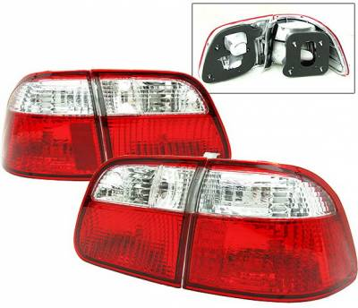 4 Car Option - Honda Civic 4DR 4 Car Option Taillights - Red & Clear - LT-HC994RC-DP