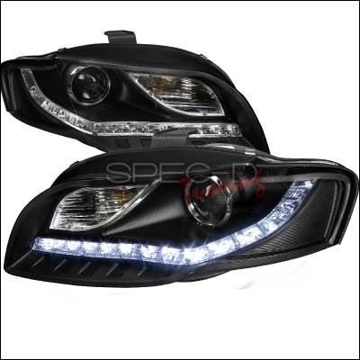Spec-D - Audi A4 Spec-D R8 Style Projector Headlights - Black - 2LHP-A406JM-8-TM