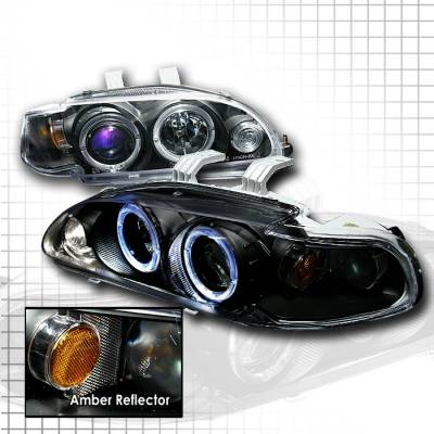 Spec-D - Honda Civic Spec-D Halo Projector Headlights - Black - 2LHP-CV92JM-KS
