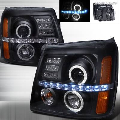 Spec-D - Cadillac Escalade Spec-D Projector Headlights - Black Housing - 2LHP-ECLD02JM-RS