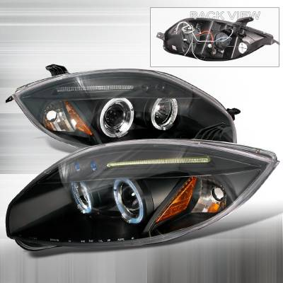 Spec-D - Mitsubishi Eclipse Spec-D Halo LED Projector Headlights - Black - 2LHP-ELP06JM-TM