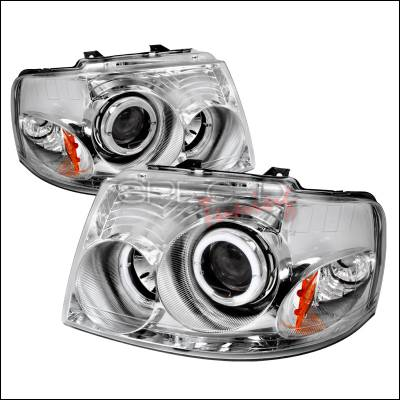 Spec-D - Ford Expedition Spec-D Halo Projector Headlights - Chrome - 2LHP-EPED03-KS