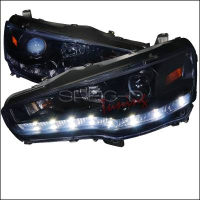 Spec-D - Mitsubishi Lancer Spec-D R8 Style Projector Headlight Glossy - Black Housing with Smoked Lens - 2LHP-EVO08G-8-TM