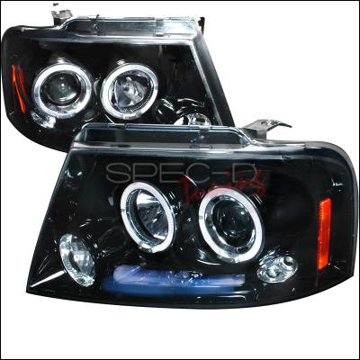 Spec-D - Ford F150 Spec-D Halo Projector Headlight Gloss - Black Housing - Smoke Lens - 2LHP-F15004G-TM