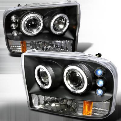 Spec-D - Ford F250 Spec-D Halo LED Projector Headlights - Black - 2LHP-F25099JM-TM