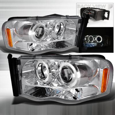 Spec-D - Dodge Ram Spec-D Halo LED Projector Headlights - Chrome - 2LHP-RAM02-TM