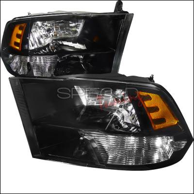 Spec-D - Dodge Ram Spec-D Black Housing Euro Headlight - 2LH-RAM09JM-DP