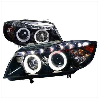Spec-D - BMW 3 Series Spec-D SMD LED Iced Halo Projector Headlights - Smoked Lens Glossy - Black Housing - 6LHP-E9005G-8-TM