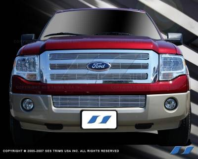 SES Trim - Ford Expedition SES Trim Billet Grille - 304 Chrome Plated Stainless Steel - Bottom - CG152B