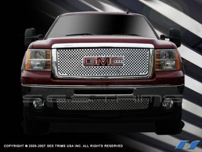 SES Trim - GMC Sierra SES Trim Stamped Grille - 304 Chrome Plated Stainless Steel - Bottom - CGP151B