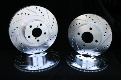 Royalty Rotors - BMW 5 Series Royalty Rotors Slotted & Cross Drilled Brake Rotors - Front