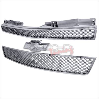 Spec-D - Chevrolet Tahoe Spec-D Mesh Front Grille Upper & Lower - Chrome - 2PC - HG-AVA07C2P-GL