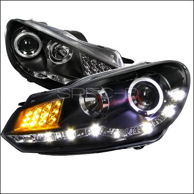 Spec-D - Volkswagen Golf Spec-D R8 Style Projector Headlight - Black Housing with LED Signal - LHP-GLF10JM-8V2-TM