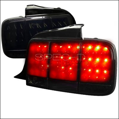 Spec-D - Ford Mustang Spec-D LED Taillights Glossy - Black Housing with Smoke Lens - LT-MST05BBLED-SQ-TM