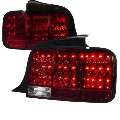 Spec-D - Ford Mustang Spec-D Sequential LED Taillights - Red - LT-MST05RLED-SQ-TM