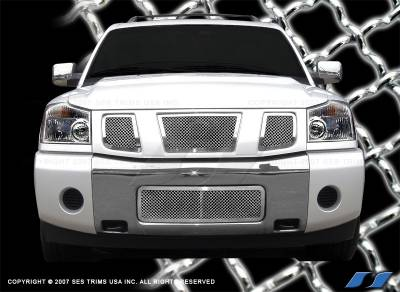SES Trim - Nissan Titan SES Trim Chrome Plated Stainless Steel Mesh Grille - MG106