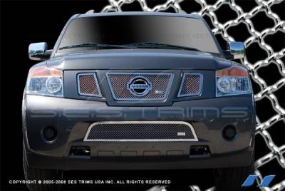 SES Trim - Nissan Armada SES Trim Chrome Plated Stainless Steel Mesh Grille - Bottom - MG183B