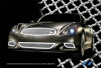 SES Trim - Infiniti G37 SES Trim Chrome Plated Stainless Steel Mesh Grille - Sport Bottom - MG194B