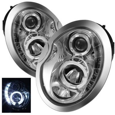 Spyder Auto - Mini Cooper Spyder Daytime Running LED Projector Headlights - Chrome - PRO-YD-MC02-DRL-C