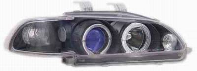 I-Tech - I-Tech Projector Headlights with Black Housing and Halo Ring and Blue lights - 1PC - 02ITHC92PBBRIM