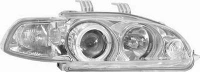 I-Tech - I-Tech Projector Headlights with Chrome Housing and Halo Ring and Clear lights with 1PC - 02ITHC92PCCRIM
