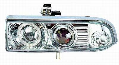 I-Tech - I-Tech Projector Headlights with Chrome Housing and Halo Ring and Clear Lights - 02KSCS98PCCRIM