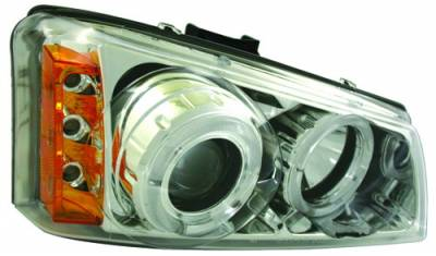 In Pro Carwear - Chevrolet Silverado IPCW Headlights - Projector with Rings with Amber Reflector - 1 Pair - CWS-337C2