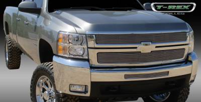 T-Rex - Chevrolet Silverado T-Rex Billet Grille Overlay - Bolt On - Polished - 2PC - 21112