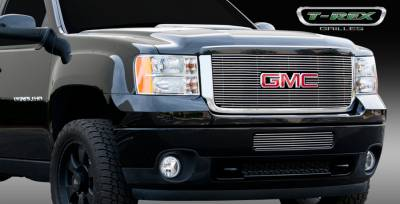 T-Rex - GMC Sierra T-Rex Billet Grille Overlay - Bolt On with Logo Opening - 21210