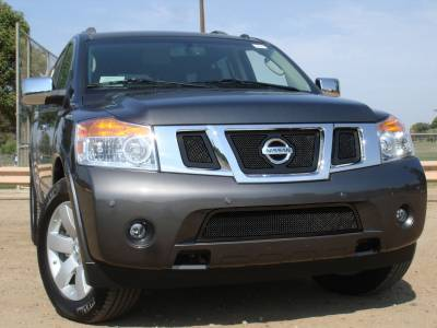 T-Rex - Nissan Armada T-Rex Upper Class Mesh Grille - All Black with Logo Opening - 3PC - 51782